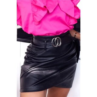 Sexy womens faux leather miniskirt with belt black UK 16 (XL)