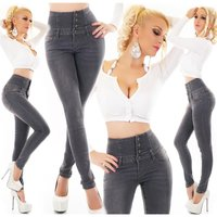 Womens skinny jeans high waist dark grey