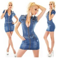 Sexy womens slim-fit jeans mini dress with zipper & belt...