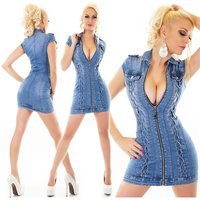 Sexy slim-fit jeans mini dress with zipper & lacings blue