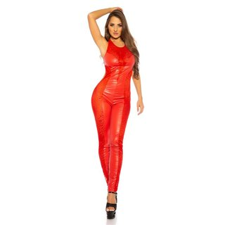 Sexy Damen Overall Catsuit transparent Wetlook Rot
