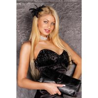 PRECIOUS SATIN BANDEAU DRESS MINIDRESS RHINESTONES BLACK