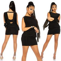 Sexy party mini dress/long shirt with open sleeves black...
