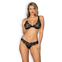 2 pcs womens lingerie set lace underwear bra thong black