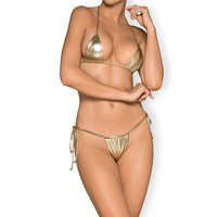 Sexy micro string bikini with tie straps beachwear gold