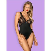Sexy womens stringbody teddy negligee with lace black UK...