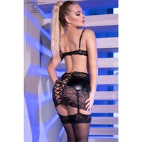 Sexy 3 pcs suspender set in wet look lingerie black