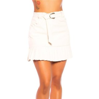Faux leather pleated mini skirt with belt creme-white