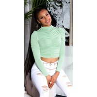 Cropped womens long-sleeved shirt with gathers light green