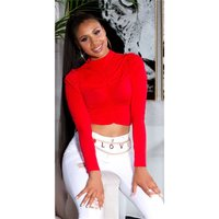 Cropped womens long-sleeved shirt with gathers red