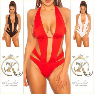 Sexy halterneck monokini Brazil cut beachwear red UK 10 (S)