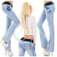 Womens bootcut jeans with push-up effect incl belt light...
