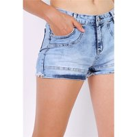 Sexy womens jeans hot pants with frayed hem blue