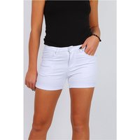 Sexy Damen Stretch Jeans Hotpants Shorts kurze Hose Weiß