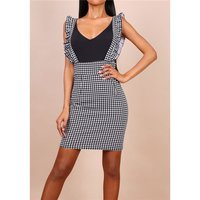 Womens houndstooth pinafore dress with frills black/white...