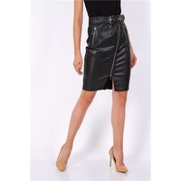 Knee-length womens faux leather skirt with belt black