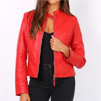 Womens faux leather biker style jacket red