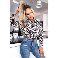 Elegant womens pussybow blouse with animal print leo-beige
