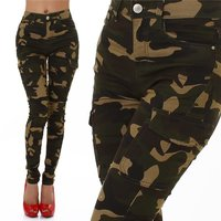 Womens skinny cargo jeans army look camouflage olive