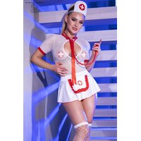 Sexy 6 pcs nurse outfit costume gogo white/red