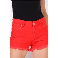 Short womens jeans hot pants shorts with frayed hem red