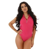 Sleeveless womens fine knit bodysuit with zipper fuchsia