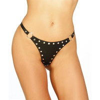 SEXY STRING IN LEDER-OPTIK MIT NIETEN DESSOUS SCHWARZ