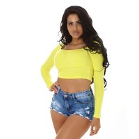 Cropped womens fine knit long sleeve shirt yellow