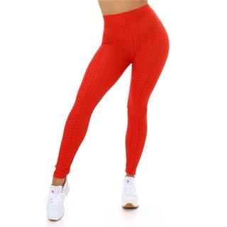 Damen High Waist Sport Leggings mit Muster Rot