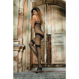 Sexy Catsuit Bodystocking mit Ouvert in Body-Look Schwarz
