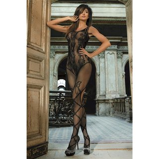 Crotchless mesh bodystocking catsuit with floral lace black