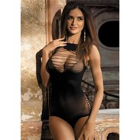 Erotic mesh teddy/bodysuit transparent with cut-outs black