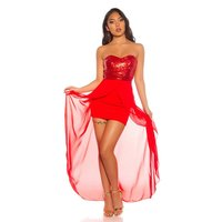 High Low Bandeau Abendkleid mit Pailletten und Chiffon Rot