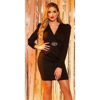 Elegant womens long-sleeved business dress with belt black
