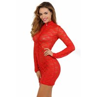 Transparent clubwear lace mini dress with zipper red UK...
