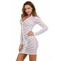 Transparent clubwear lace mini dress with zipper white UK...