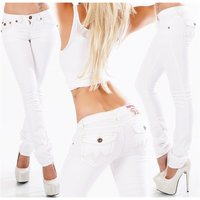 Trendy womens low-rise jeans with thick stitching white