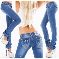 Trendy womens low-rise jeans with thick stitching blue