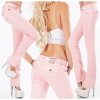 Trendy womens low-rise jeans with thick stitching pink UK...