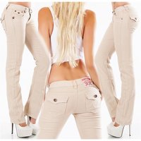 Trendy womens low-rise jeans with thick stitching beige