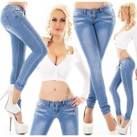 Skinny womens crashed look jeans with zips blue