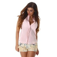 Sleeveless womens chiffon blouse semi-transparent pink