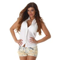 Sleeveless womens chiffon blouse semi-transparent white
