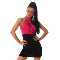 Short halterneck summer dress with flounces fuchsia/black