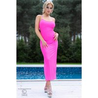 Long strap dress with criss-cross back fuchsia