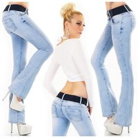 Womens bleached blue bootcut jeans incl. belt light blue...