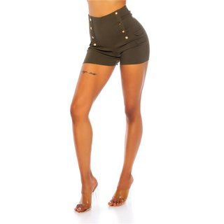 Sexy womens high waist stretch shorts with buttons khaki
