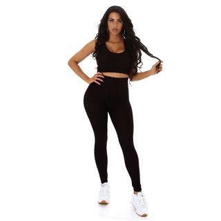 2 pcs womens jogging sport set top+leggings black