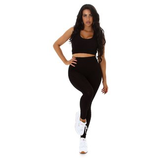 2-teiliges Damen Jogging Sport-Set Top+Leggings Schwarz