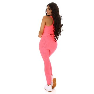 2-teiliges Damen Jogging Sport-Set Top+Leggings Neon Coral